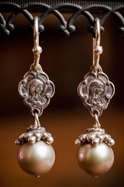 Shannon Koszyk Sterling Silver Mary & Jesus Earrings