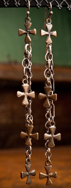 Shannon Koszyk Sterling Silver Coptic Cross Earrings