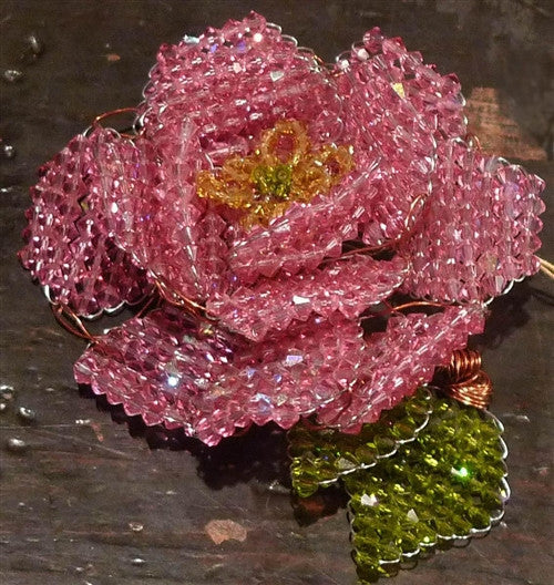 Mindy Lam Pink Swarovski Crystal Flower Pin