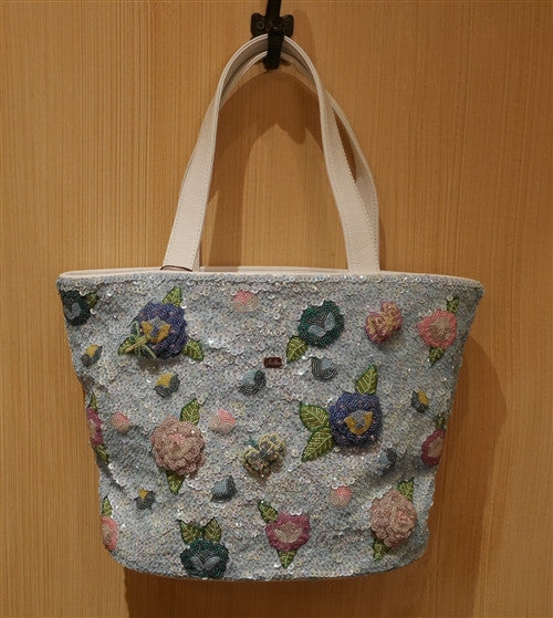 J L'huillier Blossoming Blue Rose Beaded Tote Bag