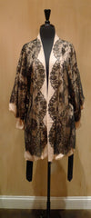 Jenny Packham Black Chantilly Lace and Nude Silk Robe