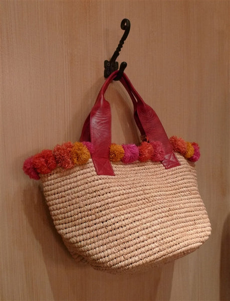 FloraBella Santanta Crochet Raffia and Leather Tote