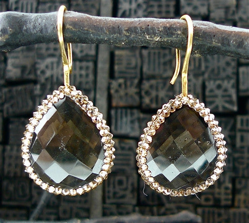 Roni Blanshay Smokey Topaz Teardrop with Swarovski Accent Earrings
