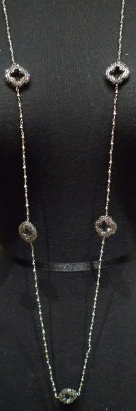 Roni Blanshay Long Pyrite Chain with Pave Crystal Clover Shaped Stations