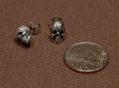 Ugo Cacciatori Sterling Silver Skull Stud Earrings