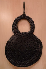 Toobkal Black Leather Circle Bag