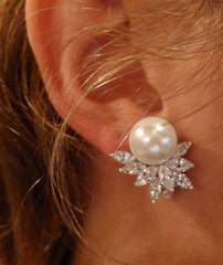 Jardin Pearl and CZ Leaf Cluster Diamond Clip Earrings by Kenneth Jay Lane