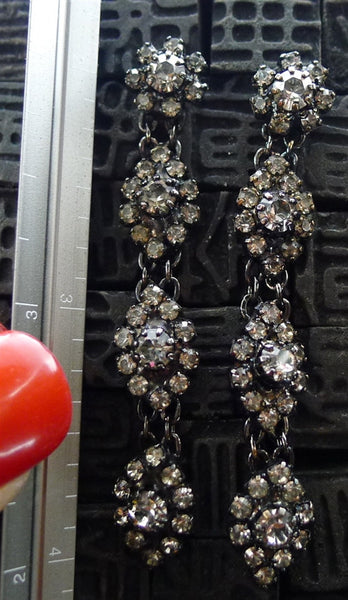 Erickson Beamon Rhodium Crystal Drop Earrings