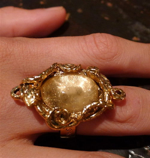 Robert Goossens of Paris Gilded Bronze and Crystal Ring