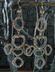 Irit Design Oxidized Sterling Silver and Diamond Bubble Earrings