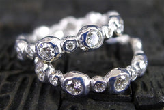 Pamela Froman 18K White Gold Crushed Beauty Bezel and Bead Ring