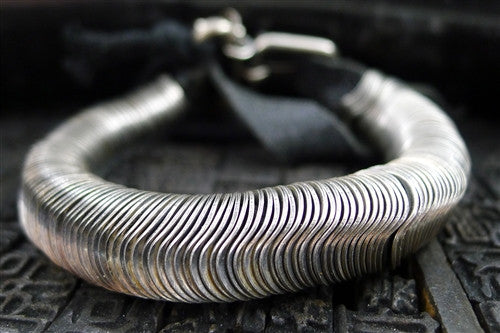 Goti Sterling Silver Liquid Disc and Leather Bracelet