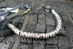 Goti Sterling Silver and Leather Line Bracelet