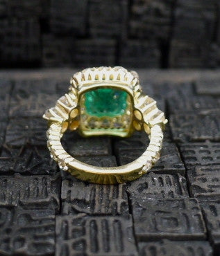 Circa 1890 Cushion Shaped Emerald and Diamond Ring in 18K Yellow Gold