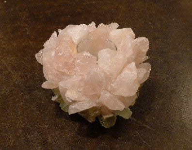 McCoy Rose Floral Rock Quartz Crystal Votive Candle
