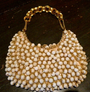Clara Kasavina Ivory Beaded Bag with Swarovski Crystals and Chain Strap
