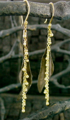 Laura Goulas 14K Yellow Gold and Oxidized Silver Earrings
