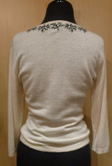Armand Diradourian Coral Branch Cashmere Sweater in Ivory