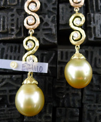 "Pamela Froman 18K Yellow and Pink Gold Ombre Scroll ""Stiletto"" Drop Earrings with Golden South Sea Pearls and Diamondss"