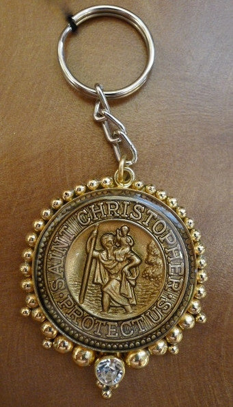 Virgins Saints & Angels VSA Designs St Christopher Keychain with Clear Crystals