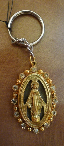 Virgins Saints & Angels VSA Designs Milagrosa Keychain with Golden Shadow Crystals