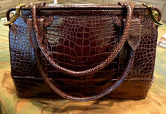Estate Judith Leiber Chocolate Brown Alligator Handbag