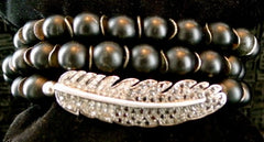 Renee Sheppard Onyx Bead with Black and White Pave Diamond Feather Wrap Stretch Bracelet