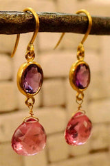 Susan Gordon 22k Amethyst and Pink Tourmaline Earrings