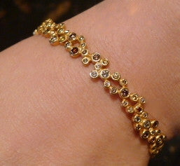 Annie Fensterstock Vega Bangle Bracelet with Fancy Diamonds in 18K Gold