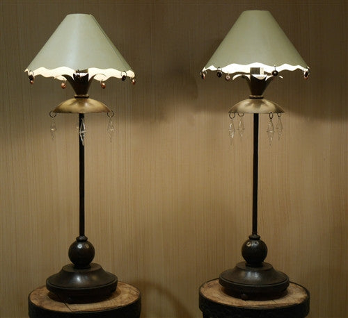 Antique French Lamps Tole Shades (Pair)