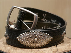 B-Low The Belt Silver Studded Black Belt