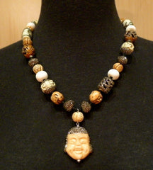 Roni Blanshay Happy Buddha Bone and Crystal Necklace