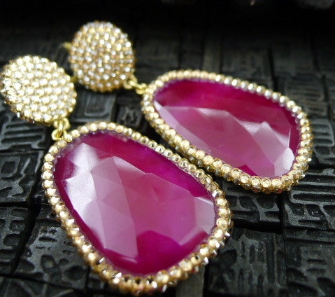 Roni Blanshay Red Stone Earring w/Pave Crystals