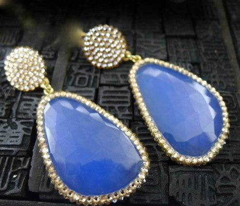 Roni Blanshay Blue Chalcedony Crystal Encrusted Drop Earrings