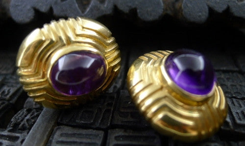 Estate 14K Yellow Gold and Amethyst Clip On Earrings