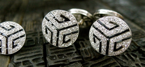 Antique Platinum Diamond and Sapphire Stud Set with Cufflinks