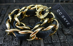 CC Skye Double Wrap Leather Bracelet in Black and Gold