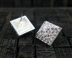 CC Skye Pave Pyramid Stud Earrings in Silver Finish