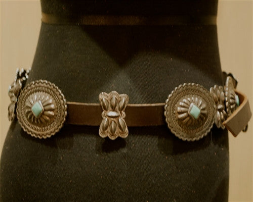 Adrienne TeeGuarden Pewter Concha Belt with Turquoise