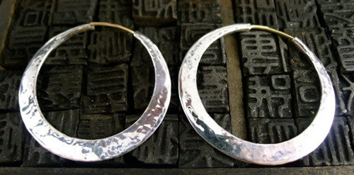 Mark Spirito Sterling Silver Small Hammered Hoop Earrings