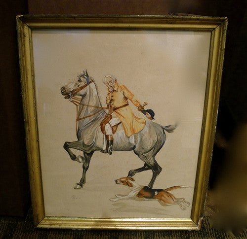 Early 20th C. Signed French Equestrian Watercolor