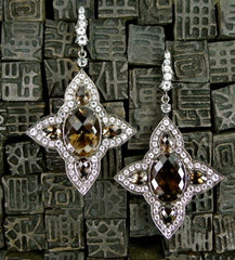 Sutra Blackened Sterling Silver, Smoky Quartz and Crystal Four Points Earrings