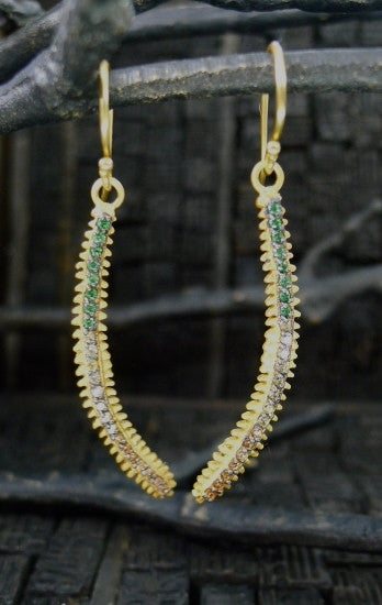 Kevia Fern Earrings Set with Contrast CZs