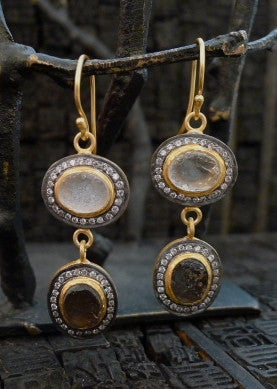 Kevia Smoky & Crystal Rough Cut Drop Earrings