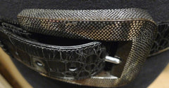 Patricia Von Musulin Alligator Belt with Hand Carved Ebony Marine Buckle Inlaid with Sterling Silver