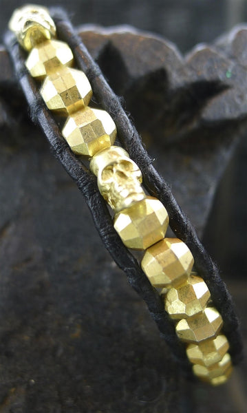 Chan Luu Men's Black Wrap Bracelet with Gold Vermeil Beads and Skulls