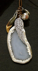 Chan Luu Sterling Silver WIng and Agate Charm Necklace