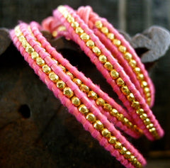 Chan Luu Hot Pink Wrap Bracelet with Gold Vermeil Beads