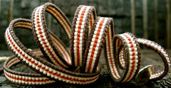 Chan Luu Brown Wrap Bracelet with Red and White Stripe