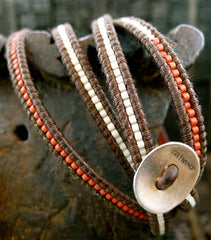 Chan Luu Brown Wrap Bracelet with Red and White Beads